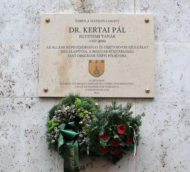 Emléktábla Dr. Kertai Pálnak